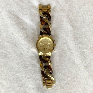 Michale Kors   Gold and Tortoise Chain Link Watch